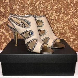 NWT TAHARI Womens Sandals - Natural/Gold Size:8.5